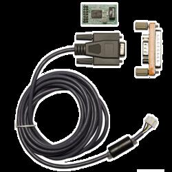 Deska  a kabel portu RS232, výstup textů událostí