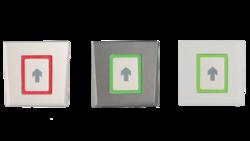 Dotykové kapacitní odchodové tlačítko, pod omítku (do el. Krabice), pouze elektronika (bez rámečku), 2-barevná LED + bzučák, tamper, 3/5/10 sek puls nebo Zap / Vyp režim, podsvícení, 12 - 24 Vss / 15 - 24 Vstř / 65 mA, 80 x 80 x 9 mm, šedá, IP40