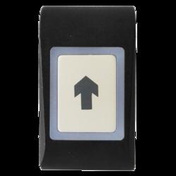 Dotykové kapacitní odchodové tlačítko, na omítku, samostatné, 2-barevná LED + bzučák, tamper, 3/5/10 sek puls nebo Zap / Vyp režim, NC / NO 24 V / 2A, podsvícení, kabel 1m, 12 - 24 Vss / 15 - 24 Vstř / 65 mA, 51 x 92 x 25 mm, -20 - + 50 ° C, IP65, černá