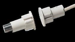 Magnetický kontakt, zápustný, přepínací C-NO-NC kontakt (SPDT), pracovní mezera až 9 mm, 2,5 m dlouhý 5-vodičový kabel s dvojitou izolací, bílý, rozměry 30,5x39,7mm - 1