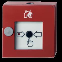 Červený tlačítkový. hlásič kovový, 100ohm, požár