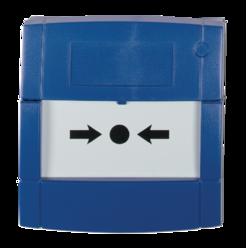 Tlač. hlásič modrý, volný kontakt, sklo