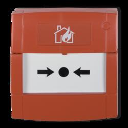 Tlačítkový požární hlásič, červený, přepínací kontakt