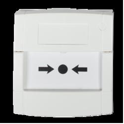 Tlač. hlásič bílý, volný kontakt, sklo
