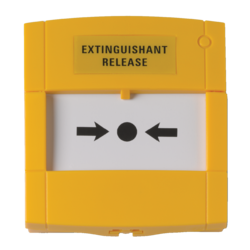 Tlač. hlásič žlutý, volný kontakt, sklo