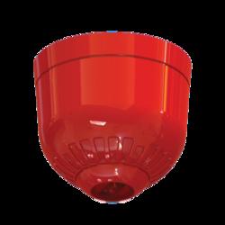 Maják - červená LED, na strop, 24V/20mA, IP21, EN54-23 C3-8.9 (místnost o průměru 8,9m), červený kryt