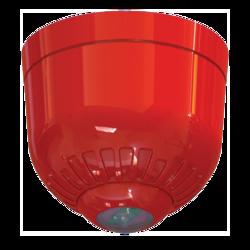 Maják - čirá LED, na strop, 24V/20mA, IP21, EN54-23 C3-15 (místnost o průměru 15m), červený kryt