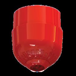 Maják - červená LED, na strop, 24V/20mA, IP65, EN54-23 C3-8.9, červený kryt