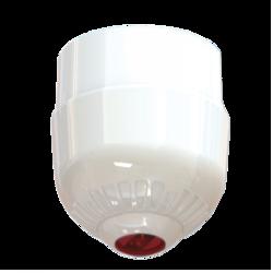 Maják - červená LED, na strop, 24V/20mA, IP65, EN54-23 C3-8.9, bílý kryt