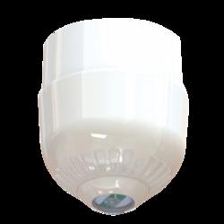 Maják - čirá LED, na strop, 24V/20mA, IP65, EN54-23 C3-15 (místnost o průměru 15m) bílý kryt