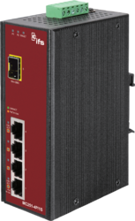 4-Port  10/100Base-Tx IEEE802.3af Copper + 1-Port  SFP Unmanaged Media Converter (4x 15,4W PoE Budget)  (-40~75℃) - Power 24-48V DC or 24V AC - Din rail or Wall Mount - accepts SFP Port 100Base-SX/FX/BX/LX only - 1