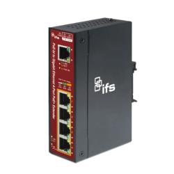 1-Port 10/100/1000Base-Tx (with POE-bt source - such as NS3503-16P-4C)  to a 4-Port 10/100/1000Base-Tx IEEE802.3at Copper Mid-span Extender (1x 60W PoE Budget - up to 300m)(-40~75℃) - DIN rail or Wall Mount