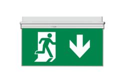 Oboustranný panel z PVC pro značení únikového východu - směr dolů