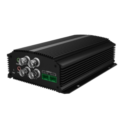 TruVision IP Encoder, 4 CH, H.265/H.264, Compact, 5MP (Max) HD-TVI, 960H, Audio, Alarm, RS-485, PoE (803.AF), 12VDC