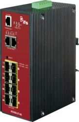 8-port 100/1000 SFP + 2-Ports 10/100/1000BaseT Managed Switch - ERPS (-40~75℃) - Power 12-48V DC - 1