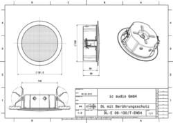 Stropní reproduktor, 6/3/1,5W, 300 - 19300 Hz,   ø 195 / - 2