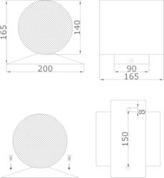 Projektor obousměrný, kov, ø140x165 mm, konstrukce  ø130 - 2