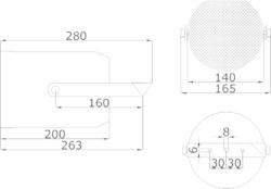 Projektor, plast, ø140x200 mm, konstrukce ø130mm, 10/6/3 - 2