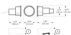 Magnetický kontakt zapuštěný pro ocelové rámy - 2