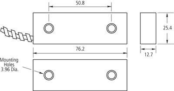 Magnetický kontakt na brány, pracovní mezera 75mm - 2