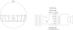 Závěsný reproduktor, ø254  mm, 20/10/5/2,5 W / 100 V, 80 - 2