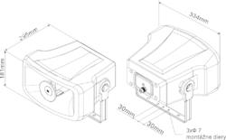 Amplión,plast, 15 W / 100 V, 329x181x297 mm, 2 - pásmový - 2