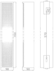 Sloupový kovový reproduktor, 700x98x90 mm, konstrukce 6x - 2