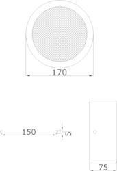 Nástěnný kovový kruhový reproduktor, ø170x75, konstrukce - 3