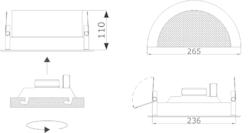 Stropní kovový reproduktor, ø265 /110 mm, konstrukce ø20 - 3