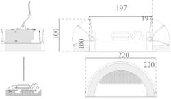 Stropní kovový reproduktor, ø220 /100 mm, two-way, konst - 3