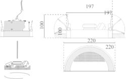 Stropní kovový A/B reproduktor, ø220 /110 mm, konstrukce - 3