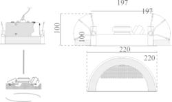 Stropní kovový reproduktor, ø220 /100 mm, konstrukce ø16 - 3