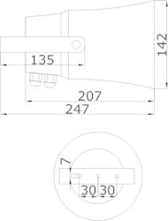 Amplión plast, Ø142 x 207 mm, 10/5/2,5/1,25W /100V, SPL - 3