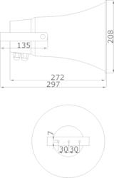 Amplión plast,Ø208 x 272 mm, 15/7,5/3,75/1,87W /100V, SP - 3