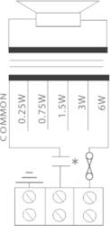 Stropní kovový reproduktor, ø189 / 110 mm, 6/4/2/1/0,5/0 - 3