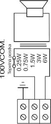 Stropní kovový reproduktor, ø215 /106 mm, 6/3/1,5/0,75/0 - 3